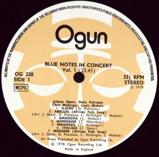 BLUE NOTES IN CONCERT - VOLUME 1