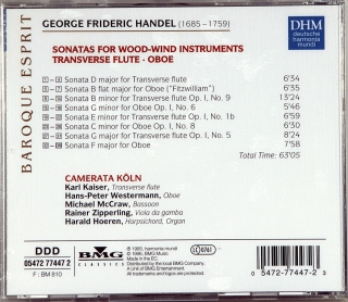 HANDEL: SONATAS FOR WOOD-WIND INSTRUMENTS FLAUTO TRAVERSO & OBOE
